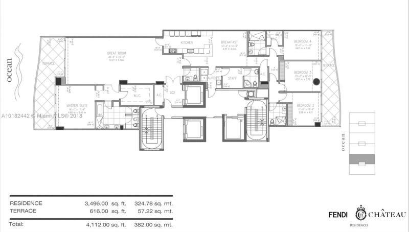 For Sale at  9349   Collins #705 Surfside FL 33154 - Fendi Chateau Residences - 4 bedroom 4 bath A10182442_10